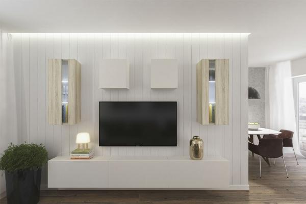 Mueble de salón ONTARIO blanco&roble – Prime-Home España
