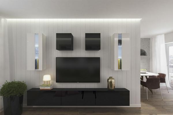 Mueble de salón ONTARIO negro&blanco brillante – Prime-Home España