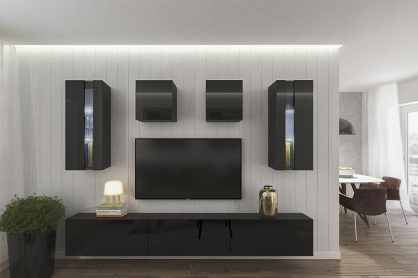 Mueble de salón ONTARIO negro brillante – Prime-Home España