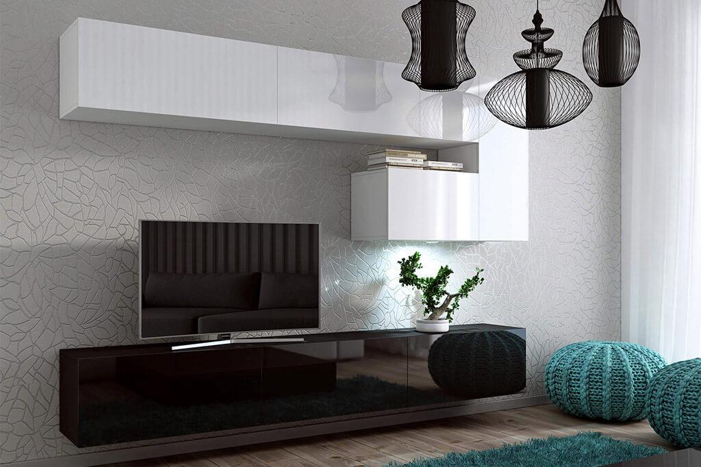 Mueble de sal n enigma blanco y negro brillante prime for Mueble salon blanco y negro