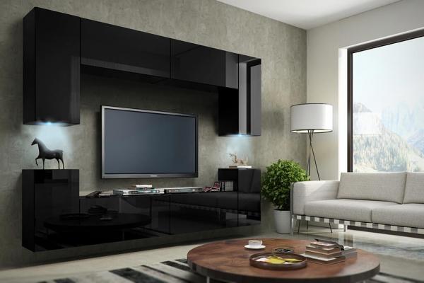 Mueble de salón negro brillante - BERG | www.prime-home.es