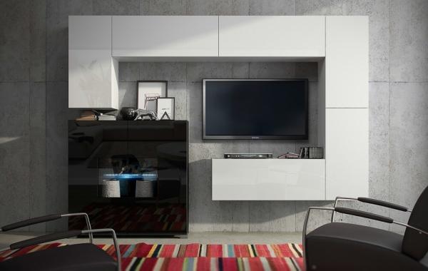 Mueble de salón modular blanco brillante con vitrina negro brillante » Zumba » Prime-Home España | Muebles para el Hogar y Oficina | www.prime-home.es