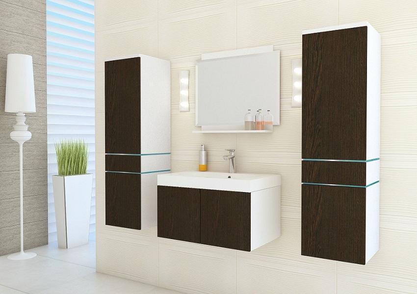 Mueble de ba o zoya negro blanco y wengu prime for Mueble wengue y blanco