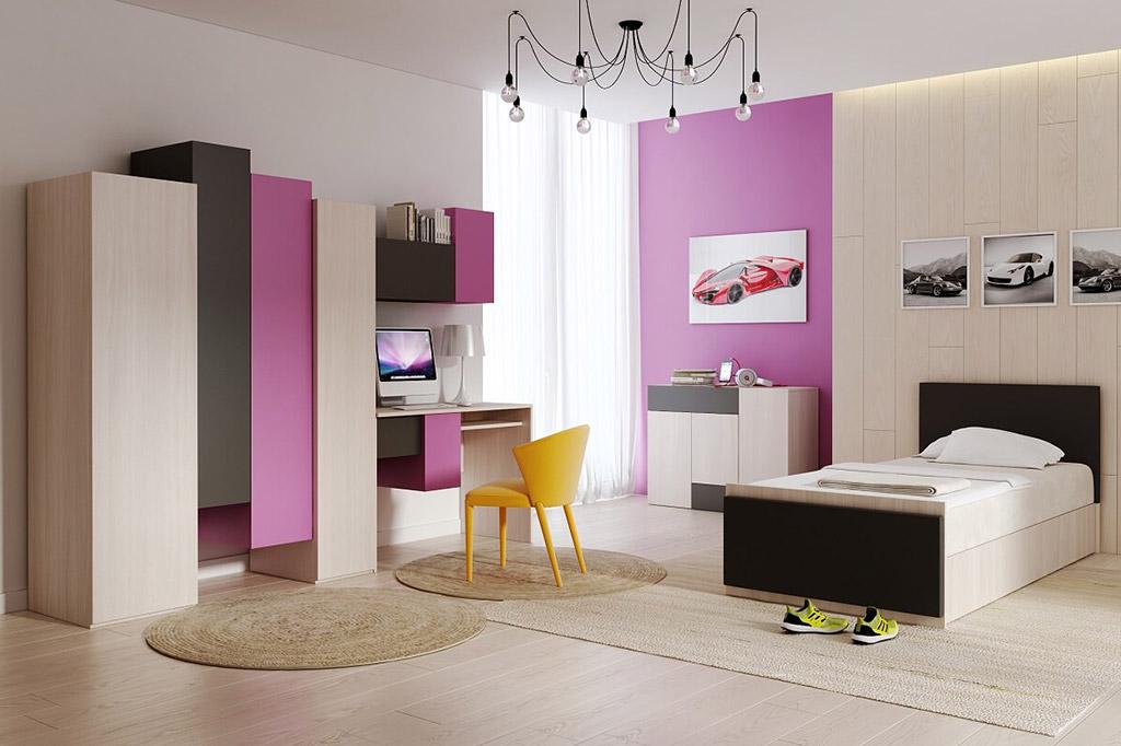 Conjunto de muebles juveniles city violeta prime for Muebles juveniles