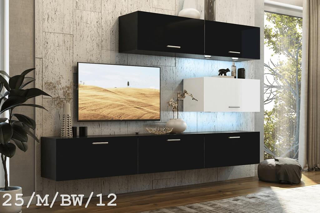 Mueble de salón SEMI negro y blanco mate – Prime-Home.es – Muebles