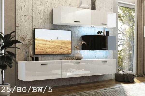 El mueble de salón SEMI blanco y negro brillante – Prime-Home España – Muebles para el Hogar y Oficina | www.prime-home.es