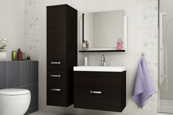 Mueble de baño con lavabo y espejo » Glossy wengué » Prime-Home España | Muebles para el Hogar y Oficina | www.prime-home.es