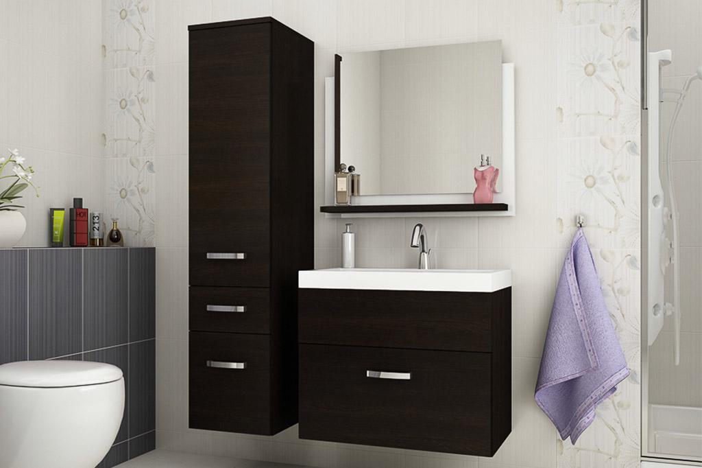 93722bd3215b Mueble de baño con lavabo y espejo » Glossy wengué » Prime-Home España