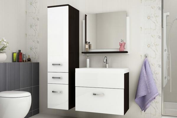 Mueble de baño con lavabo y espejo » Glossy blanco y wengué » Prime-Home España | Muebles para el Hogar y Oficina | www.prime-home.es