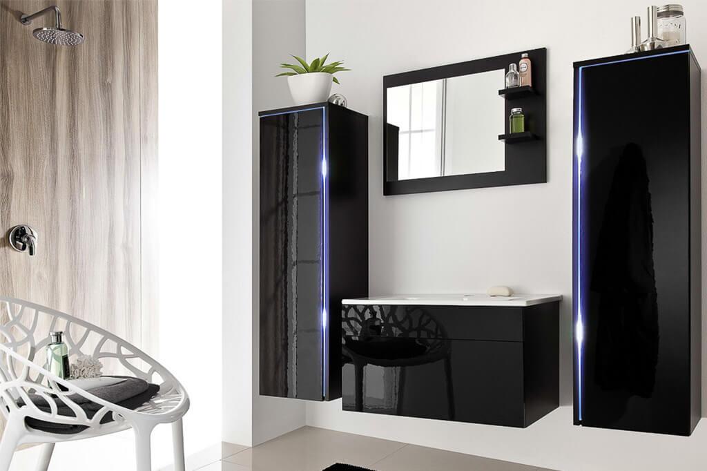 Mueble de ba o shine negro prime home espa a muebles for Muebles de bano negro