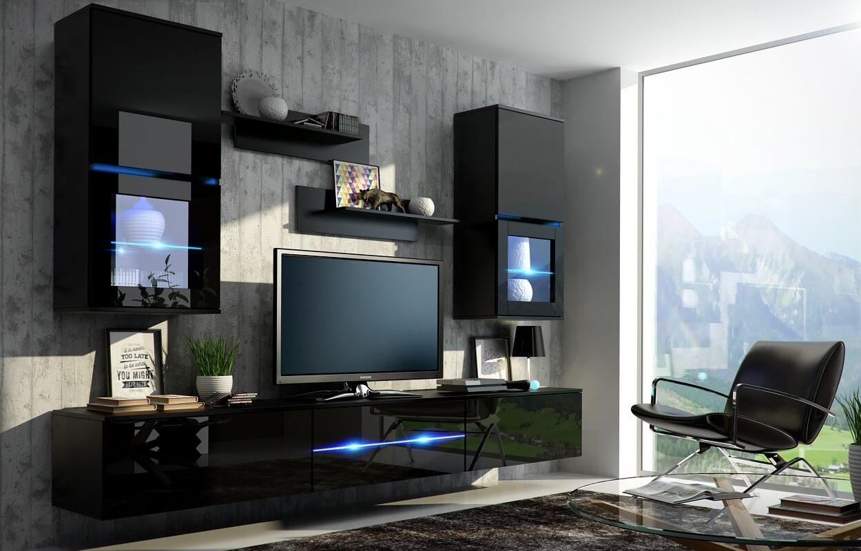 Mueble de salón comedor MARGO negro brillante - Prime-Home Muebles