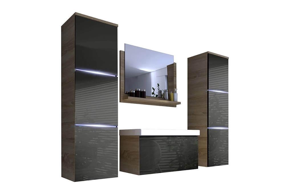 Mueble de Baño LUNA - roble&gris brillante– Prime-Home España