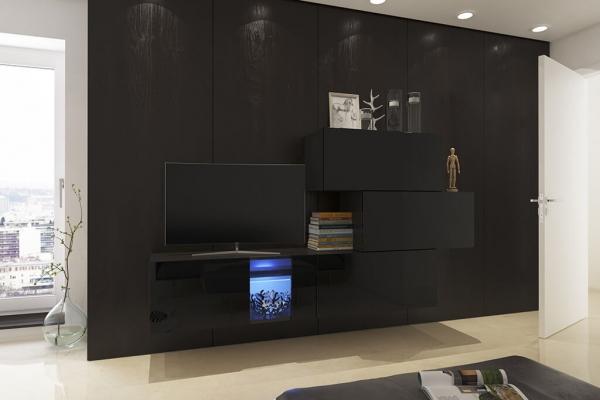 Mueble de salón Saraí - negro brillo — Prime Home España