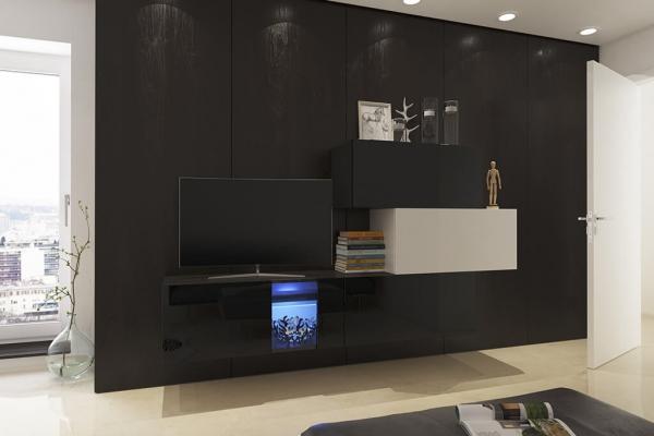 Mueble de salón Saraí - blanco&negro brillo — Prime Home España