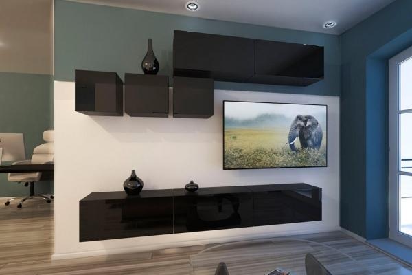 Mueble de salón DAKOTA - negro brillo — Prime Home España
