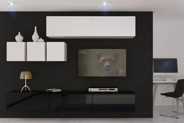 Mueble de salón DAKOTA - blanco&negro mate — Prime Home España