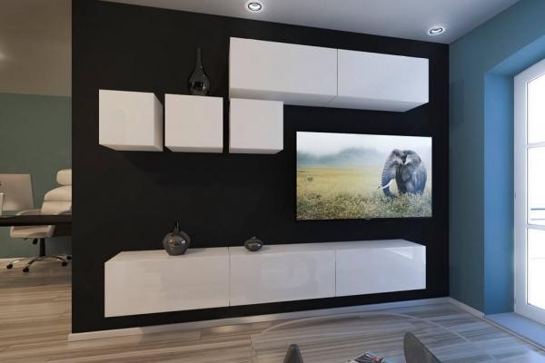 Mueble de salón DAKOTA - blanco brillo — Prime Home España