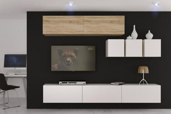 Mueble de salón Saraí - roble&blanco mate — Prime Home España