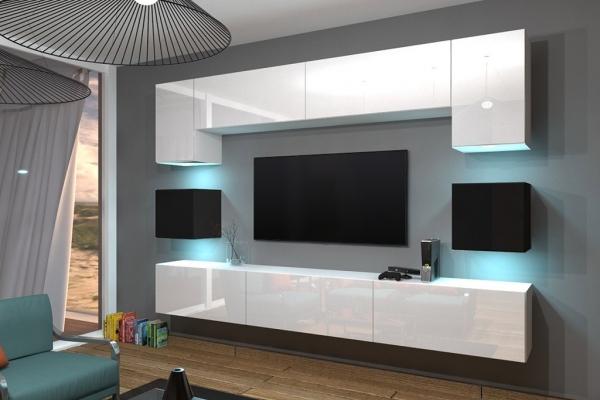 Mueble de salón blanco y negro brillante ALICIA con sistema de apertura push to open | Prime Home España | www.prime-home.es