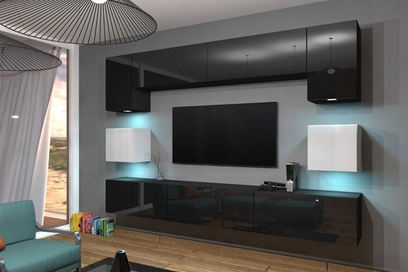 Mueble de salon negro y blanco brillante ALICIA con sistema de pertura push to open (AN1-17BW-HG22)