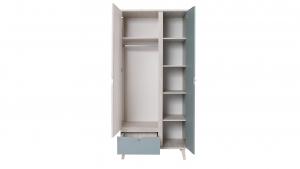 Armario alto 2 puertas, 1 cajón, color madera claro y azul grisáceo – MEMO