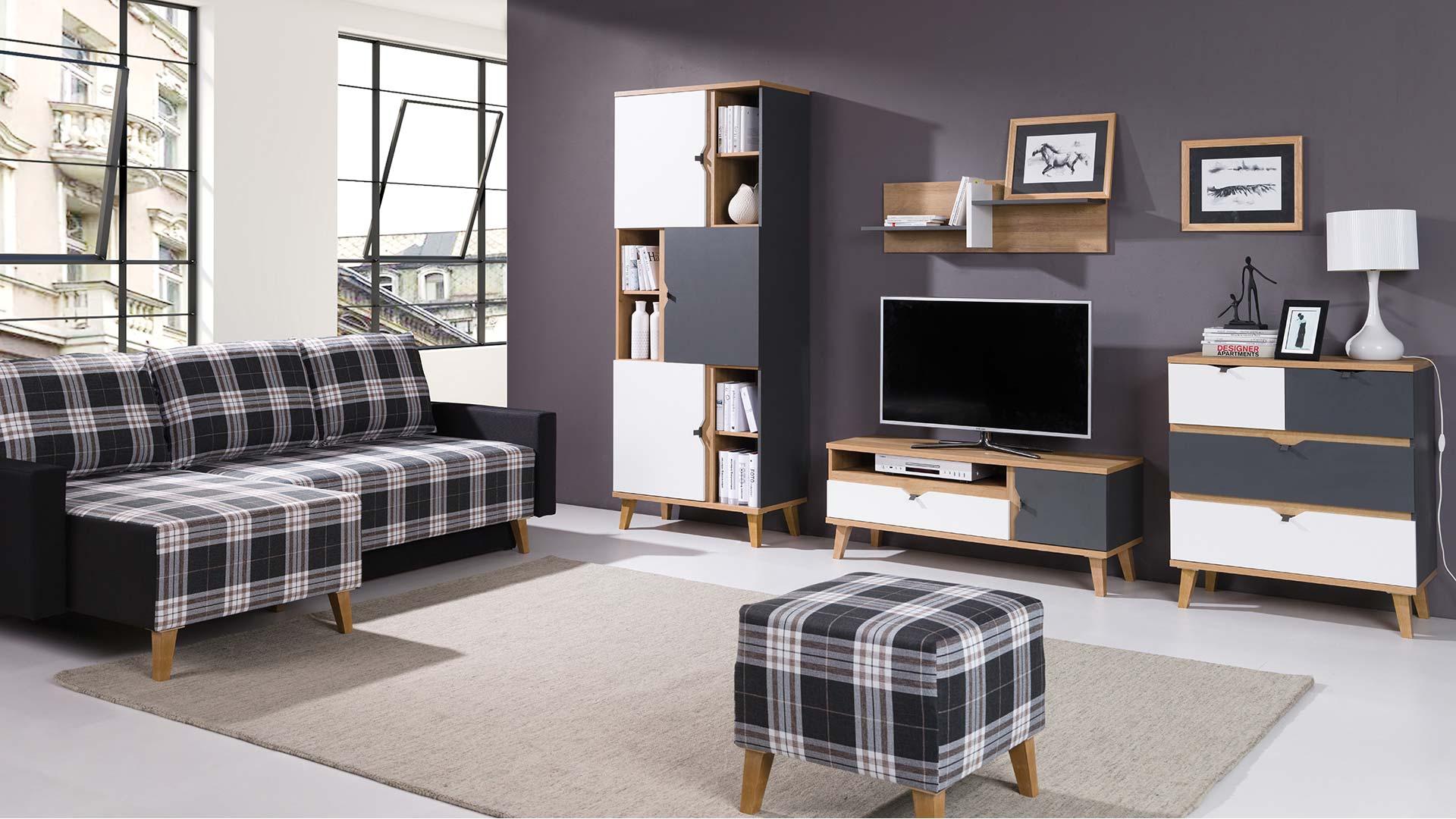 Conjunto de sal n color dorado blanco y grafito c moda armario mueble tv estanter a memo - Conjunto muebles salon ...