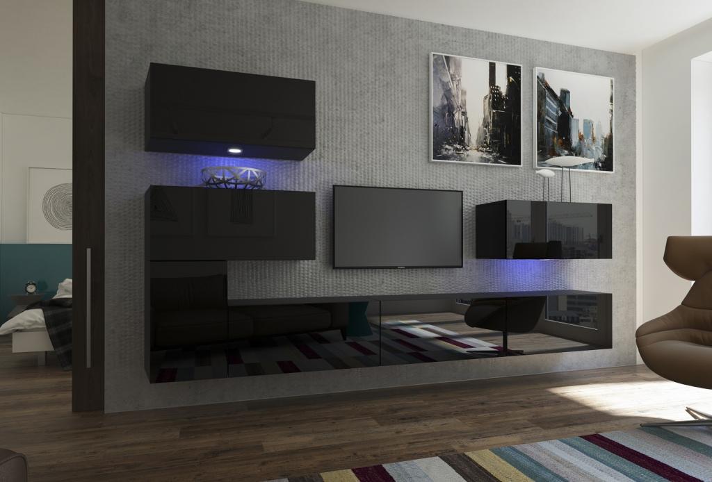 Mueble de Salón negro Brillante – Manhattan N123 | Prime-Home España | Muebles para el Hogar y Oficina | www.prime-home.es